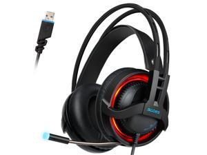 SADES R2 Gaming Headset Digital 7.1 Channel Surround Sound USB PC Stereo Headphones with High Sensitivity Microphone Volume Control LED Light(Black)