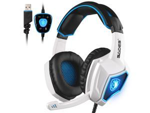 2017 New SADES Spirit Wolf 7.1 Surround Sound Stereo USB Gaming Headset Headband Headphones with Mic Over-the-Ear Noise Isolating Volume Control LED Light For PC Gamers (Black White)