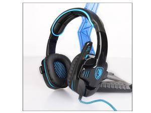 SADES SA901Gaming headphone Over Ear USB Wired 7.1 Surround Noise Cancelling PC Gaming Headset with Microphone (BlackBlue)