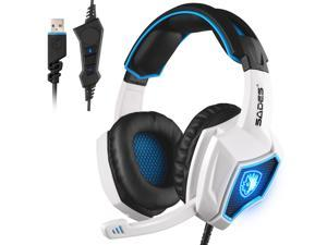 [2017 Newest]SADES Spirit Wolf USB Gaming Headset with Vibration,Microphone Over-the-Ear Noise Isolating Volume Control LED Light For PC Gamers (White)