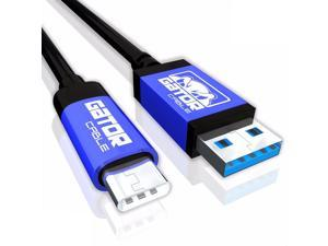 GATOR CABLE Reversible Type C-USB 3.1 cable - Male to Male (A to C) - BLUE - 6 FT - Nickel Plated Connectors - Charger Cable Data Sync NEXUS 5X/6P LG G5 G6, Samsung S8+