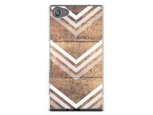 Case for Sony Z5 Compact, CasesByLorraine Wood Print Chevron Arrow Pattern Case Flexible TPU Soft Gel Protective Cover for Sony Xperia Z5 Compact (G10)