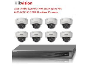 Hikvision 8-ch NVR DS-7608NI-E2/8P 8POE and 8pcs hikvision 3MP IP camera DS-2CD2132F-IS IR 30m audio/alarm surveillance CCTV security kits