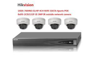 Upgradable Hikvision 4CH NVR DS-7604NI-E1/4P with 1SATA 4POE and Hikvision 4xDS-2CD2132F-IS 3MP outside IR POE IP camera surveillance system kits poe