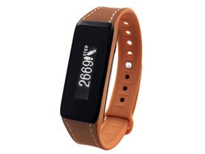 Archon Touch Brown Leather Smart Fitness Wristband with OLED Touchscreen, Track Steps / Distance / Calories Burnt, Push Notifications of Caller ID & Messages, Monitor Sleeping Quality, Archon APP