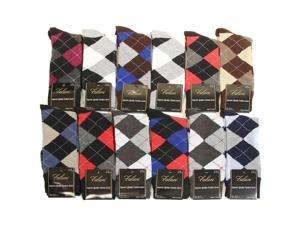 Falari 12 Pairs Assorted Men Dress Argyle Socks Diamond Shape Size 10-13