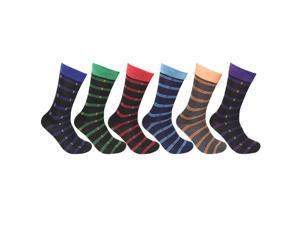 Falari 6-Pack Striped Men Dress Socks Size 10-13