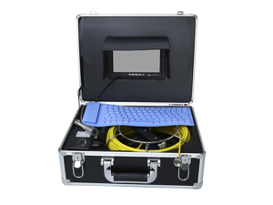 "Eyoyo 7"" LCD Pipe Sewer Inspection Camera 50m Drain Industrial Endoscope Video Inspection System with Portable Keyboard"