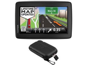 "TomTom VIA 1505M WTE 5"" Touchscreen GPS Navigation Device Lifetime Maps w/ Case Bundle"