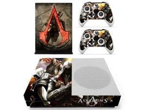 For Xbox One S Vinyl Skin Sticker Decals for the Xbox One S Console With Two Wireless Controller Decals - Assassins Creed