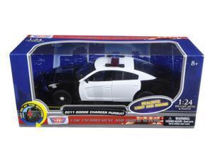 2011 Dodge Charger Pursuit Police Car Black #38;White w #47;Flashing Light Bar,Front,Rear Lights, 2