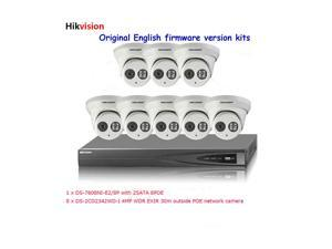 Hikvision 8CH nvr DS-7608NI-E2/8P 2SATA 8POE and 8pcs 4MP camera DS-2CD2342WD-I IR IP66 dome surveillance system kits