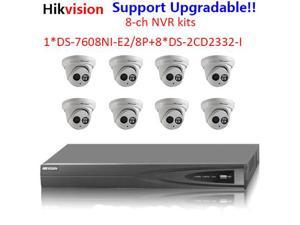 Hikvision cctv kits for DS-7608NI-E2/8P NVR with 2SATA 8POE & 8 x DS-2CD2332-I 3mp IR 30m IP66 outside network cameras with POE with 2.8 or 4mm lens
