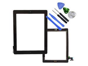 OEM Black Adhesive Touch Screen Glass Digitizer iPad 2+Home Button Assembly+Tool