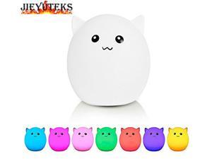 Jieyuteks Adorable Pet LED Night Light Multicolor Soft Silicone Cute Nursery Night Lamp Baby Light Nursery Lamp Mood Night Light with USB Rechargeable GREAT GIFT for Children (Adorable Pet Smile)