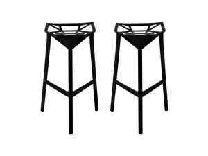 Mod Made Geometric Aluminum Barstool In Black [Set of 2]
