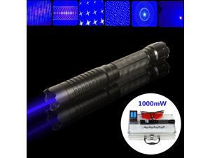 New Updated: 1W Powerful Blue Noble Laser Pointer Light Pen 445nm - 450nm Laser Beam High Power Blue Laser +4* Rechargeable 16340 Battery +1* Battery Charger +1* Protecting Glasses +5* Star Filters