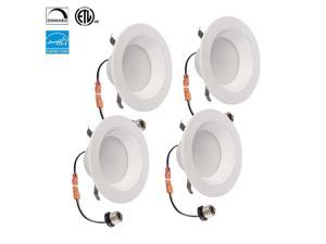 "TriGlow 9 Watt Retrofit Downlight Kit 65W Replacement, Fit for 4"" Round opening, Dimmable, 3500K, E26 Base, ETL and Energy Star Qualified, 4- Pack"