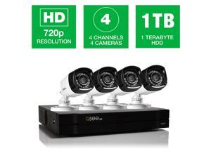 Q-See 4 Channel 720p HD Security System, 1TB HDD, 4 Bullet Cameras, 80' Night Vision