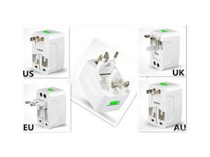 WOC US EU AU UK To Universal World Travel AC Power Socket Plug Adapter Convertor White