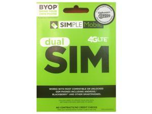 SIMPLE Mobile Dual SIM Card, Includes Standard and Micro SIM Card - SM64PTRPKT5BMB