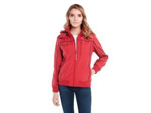 BauBax Bomber Red-Water resistant travel jacket with detachable hood and 15 features including the built-in neck pillow, eye mask, gloves, iPad pocket, drink pocket, pen-stylus hybrid and more