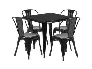 31.5'' Square Crystal Black Metal Indoor-Outdoor Table Set with 4 Stack Chairs