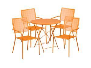 30u0027u0027 Round Orange Indoor Outdoor Steel Folding Patio Table Set ...