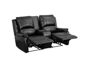 Flash Furniture Black Leather Pillowtop 2-Seat Home Theater Recliner With Storage Console [BT-70295-2-BK-GG]