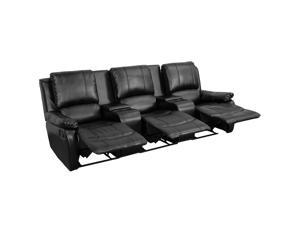 Flash Furniture Black Leather Pillowtop 3-Seat Home Theater Recliner With Storage Consoles [BT-70295-3-BK-GG]