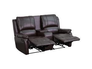 Flash Furniture Brown Leather Pillowtop 2-Seat Home Theater Recliner With Storage Console [BT-70295-2-BRN-GG]