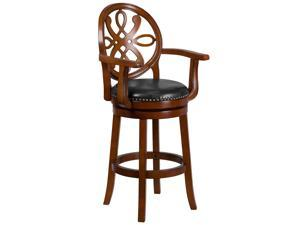 30'' High Brandy Wood Barstool with Arms and Black Leather Swivel Seat