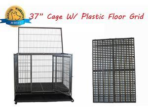 "New 37"" Homey Pet Open Top Heavy Duty Dog Pet Cage Kennel w/ Tray, Plastic Floor Grid, and Casters"