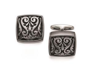 Titanium Black Ti Polished Etched Square Cuff Links