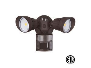 LED Security Light 20W Flood (100 Watt Replacement), Motion Sensor + Photocell, 1500 lm, 5000K (Daylight), Adjustable Head, Bronze, IP65, ETL Listed