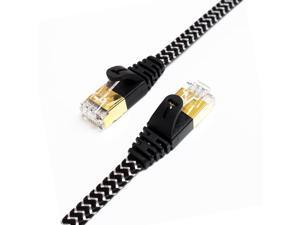 Tera Grand - CAT7 10 Gigabit Ethernet Ultra Flat Patch Cable for Modem Router LAN Network - Built with Gold Plated & Shielded RJ45 Connectors and Nylon Braided Jacket, 25 Feet Black & White
