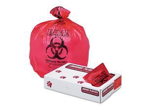 "Health Care ""biohazard"" Printed Liners, 1.3mil, 33 X 39, Red, 150/carton"