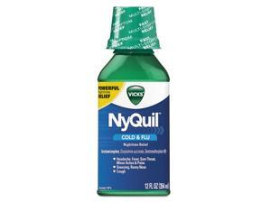 Nyquil Cold & Flu Nighttime Liquid, 12 Oz Bottle, 12/carton