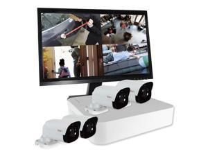 REVO America RU41B4GM22-1T Ultra HD 4 in 1TB NVR Surveillance System with 4 x 4 Megapixel Bullet Cameras & 22 in. Monitor, White