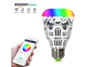 Sansi Smart LED Light Bulb, 10W(60W Equivalent), A19, E26 Base, Dimmable, 800lm, RGB, Wi-Fi, Works with Amazon Alexa, Smartphone Controlled, Ceramic Body