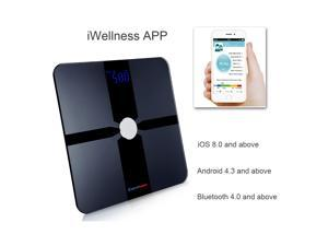 Excelvan Wireless Bluetooth Digital Smart Body Fat Scale Fat Water Bone Mass BMI BMR Body Analyzer with Free APP for iOS & Android Devices, 180kg/400lbs