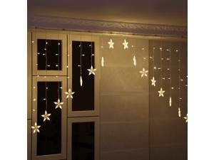 Excelvan 30V 3M 136LED V-type Fairy Curtain Light with 8 Modes for Christmas Halloween Holiday Party Wedding - Warm White