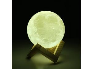 3D Printing Moon LED Lamp Rechargeable Touch Switch Night Light - 9cm