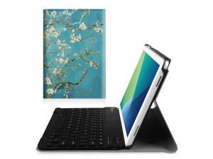 Fintie Samsung Galaxy Tab A 10.1 with S Pen Case - Slim Shell Stand Cover w/ Removable Bluetooth Keyboard, Blossom