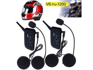 Wanmingtek 2 pcs V6 Pro-1200 BT Motorcycle Waterproof Bluetooth Interphone 1200M Multi Interphone Headsets 6 Riders Motorcycle Helmet BT Intercom for Racer Motorcycle Riders Skiing and Riding