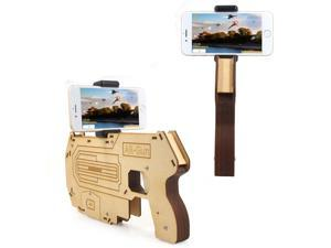 Wanmingtek AR-WF01 360° 3D Game AR Gun Augmented Reality AR Bluetooth Game Controller, Portable and Eco-friendly Wood Toy Gun with Cell Phone Holder IOS & Android Bluetooth Smart Phone