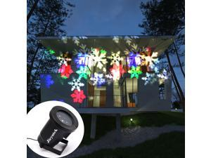 Wanmingtek Moving Colorful Snowflake Projector Lamp, IPX65 Waterproof Landscape Projector Lights Night Light Spotlight for Christmas, Halloween, Holiday, Garden, Party, Home Decoration