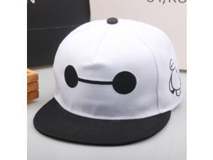 Wanmingtek Summer Movie Big Hero 6 Unisex Baymax Canvas Cap Hip-hop Baseball Cap Basketball Hat Black + White