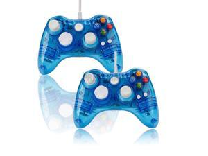 2X Wired USB Controller Gamepad Joypad For Microsoft Xbox 360 PC Afterglow Blue