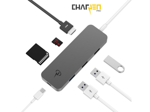 CERTIFIED CharJenPro USB-C 3.1 HUB/ADAPTER: HDMI 4K, 3 USB 3.0 Ports, SD + MicroSD Card Reader, Type-C port, All Aluminum-body for the 2016 MacBook Pro Touchbar + other Type-C laptops (Space Gray)